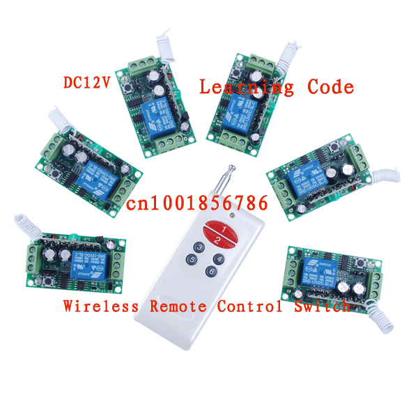 12V 1ch RF Wireless Switch Wireless remote control system1 transmitter & 6 receiver Toggle Momentary Latched Learning Code new ac 220v 30a relay 1 ch rf wireless remote control switch system toggle momentary latched 315 433mhz