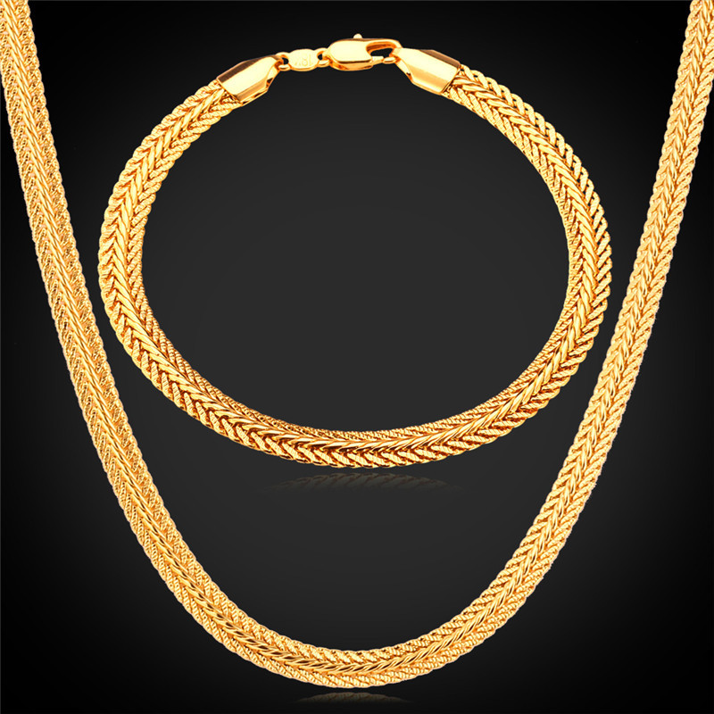 Long Foxtail Chain Bracelet Necklace Set 6mm Wholesale Yellow Gold/Black /Rose Gold Color Chain For Men Jewelry NH435 thick gold chain set wholesale men s jewelry white black crystal buckle necklace bracelet stainless steel jewelry sets