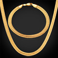 Long Foxtail Chain Bracelet Necklace Set 6mm Wholesale Yellow Gold Black Rose Gold Plated Chain For Men Jewelry NH435