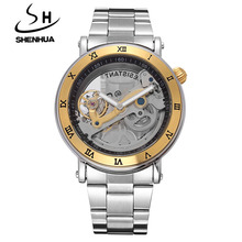 SHENHUA Men Watches Hollow Transparent Tourbillon Mechanical Watches Men Skeleton Automatic Self-Wind Watch Relogio Masculino