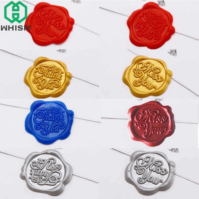 WHISM Self Adhesive Wax Seal Stickers Decorative Sealing Wax Stamps Sticker Wedding Envelop Invitation Gift Diary Album Craft