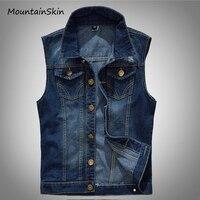 Mountainskin 2017 Men S Denim Vest Male Sleeveless Jeans Jackets Washed Jean Cowboy Waistcoat Plus Size