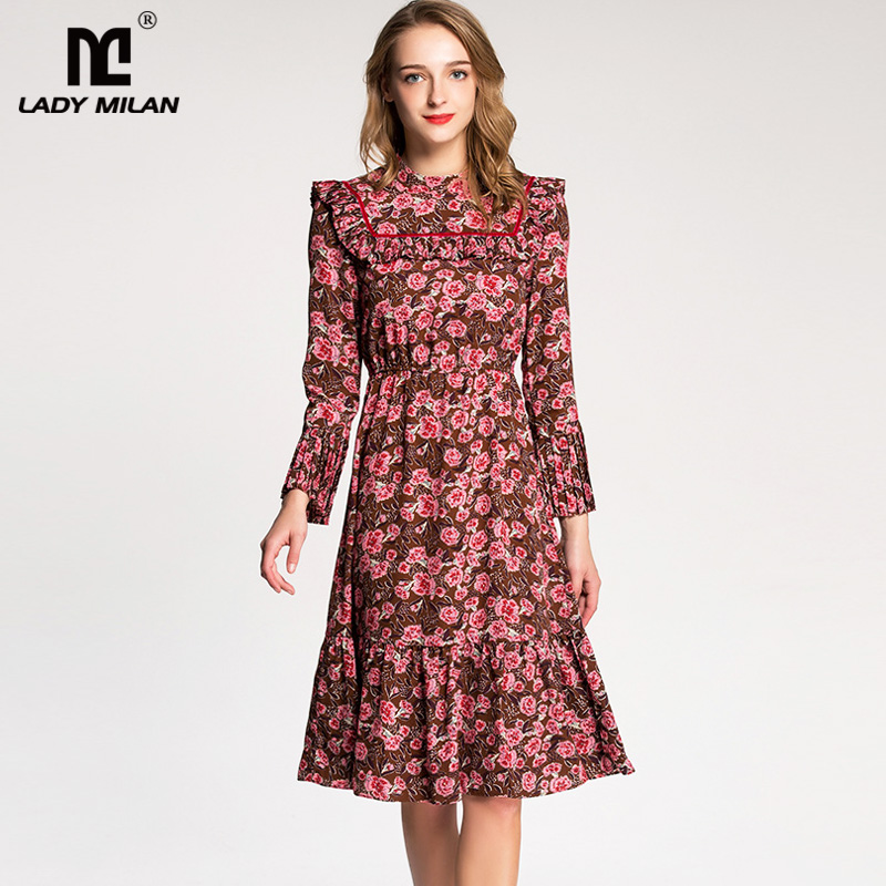 New Arrival 2018 Womens O Neck Long Flare Sleeves Floral Printed Ruffles High Street Fashion Casual Dresses