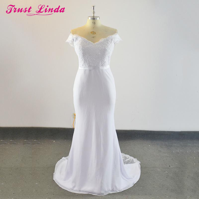 Trust Linda Simple Mermaid   Bridesmaid     Dresses   2018 Long Bridal Party Wear Gowns Sexy Lace Appliques Beaded Prom   Dress   Plus Size