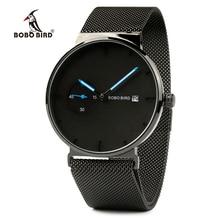 BOBO BIRD relogio masculino Men Stainless Steel Watch Adjustable Band Auto Date Timepieces Quartz Wristwatches In Gift Box L-R18 цены онлайн