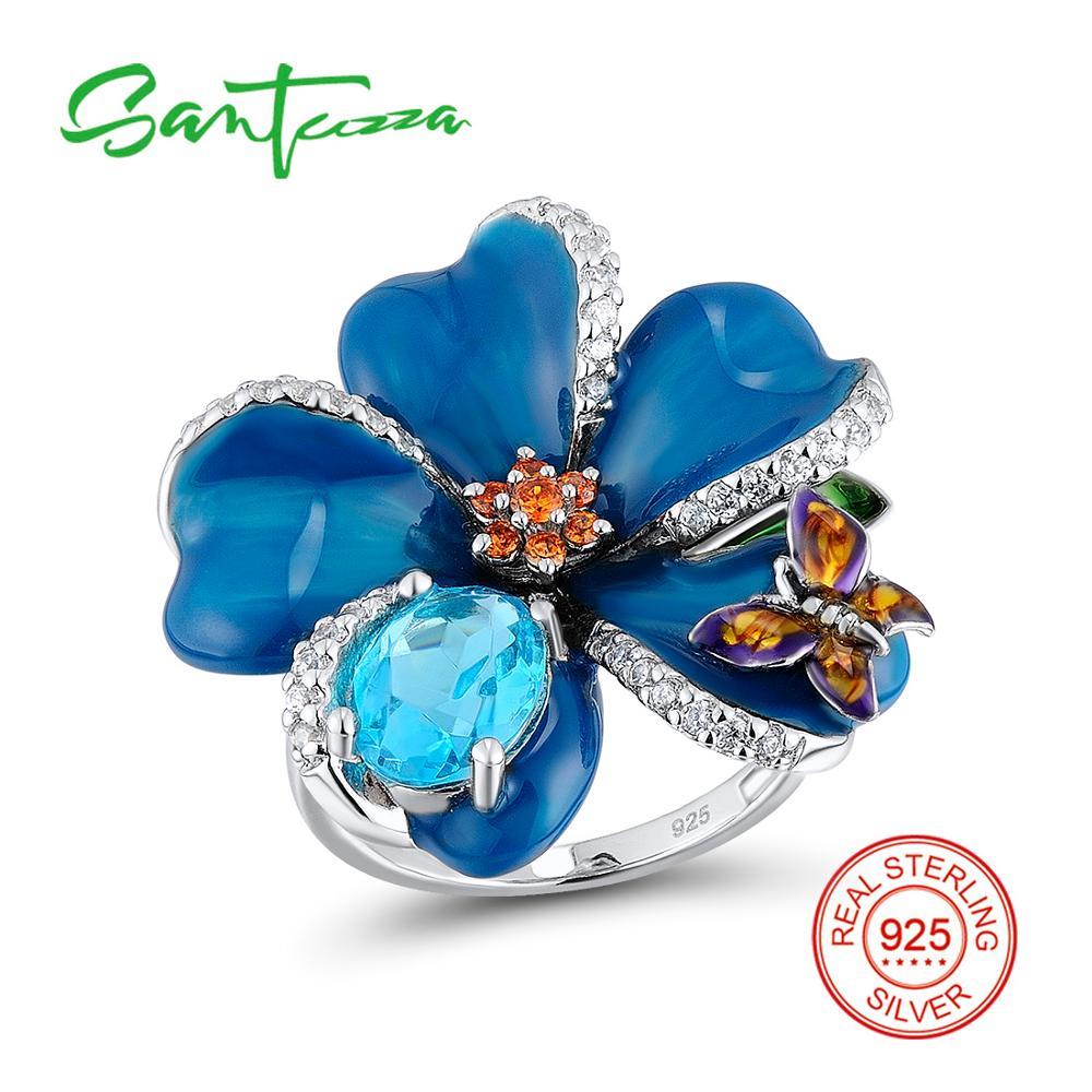 Silver Rings for Women Blue Flower Mini Butterfly Enamel Ring Blue White Cubic Zirconia 925 Sterling