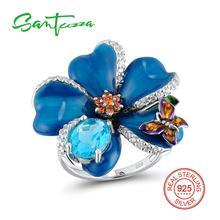 Серебряные кольца для Для женщин голубой цветок Мини Бабочка эмали кольцо сине-белые кубического циркония стерлингового серебра 925 женский кольцо ручной работы
