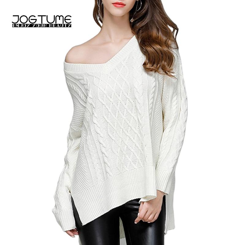 JOGTUME Volně pletená košile 2017 podzim zimní dámské svetry s dlouhým rukávem dámské sexy výstřih do krku svetr pevná bílá šedá