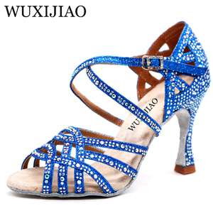 Image 4 - WUXIJIAO Silver Blue Rhinestone Latin Dance Shoes Women Salas Ballroom Shoes Pearl High Heel 9cm Waltz Software Shoes Hot Sale