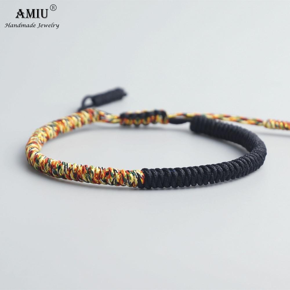 AMIU Tibetan Buddhist Lucky Charm Tibetan Bracelets & Bangles For Women Men Handmade Knots Vintage Rope Christmas Gift Bracelet