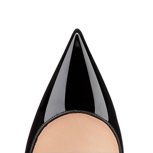 Image 3 - GENSHUO zapatos de tacón alto de charol para mujer, calzado Sexy con punta puntiaguda, 11 12 talla grande, color negro
