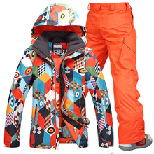цена Free Shipping Gsou snow men ski suit pants + jackets/set winter sports snowboard clothing men's skiing sets waterproof windproof