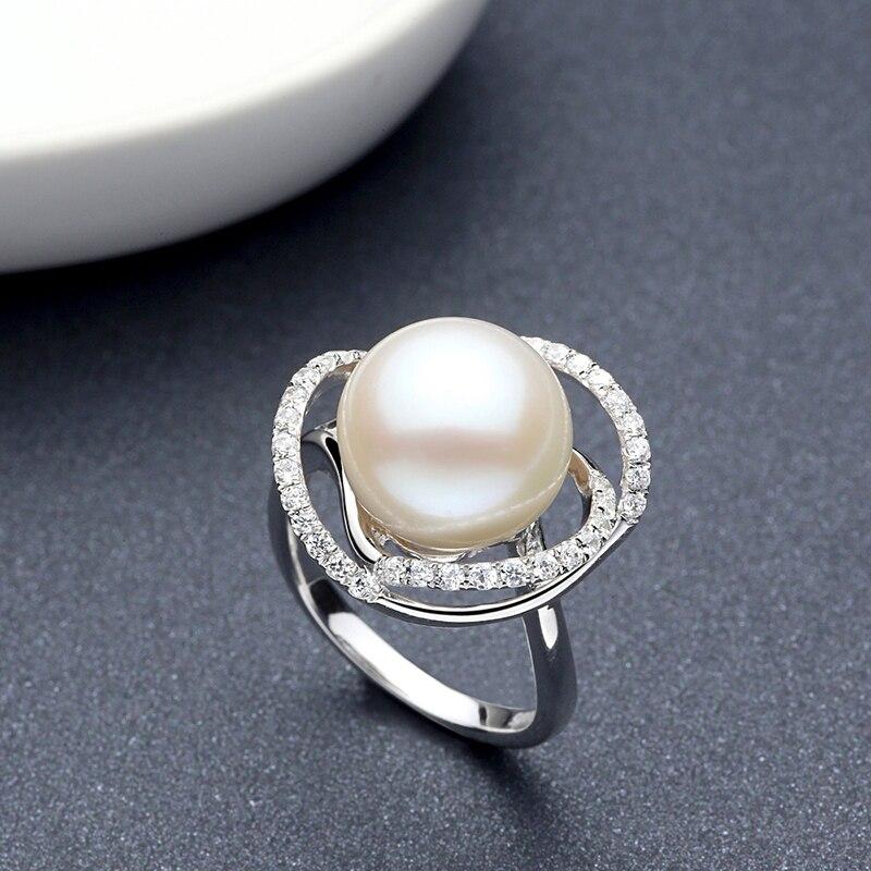 Sinya naturel perle anneau de mariage bandes anneau en argent Sterling 925 pour les femmes Fleshwater perle diamètre 10-13mm nouveauté