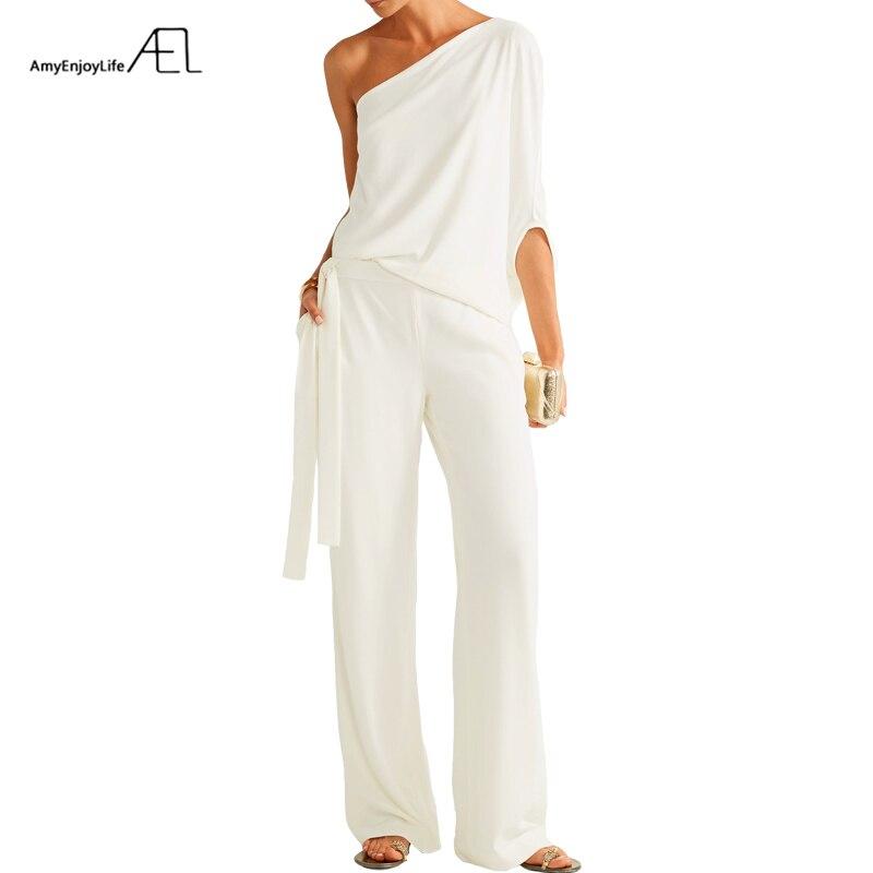 AEL Petal Sleeve One Shoulder Slash Neck Ladies Suits Asymmetrical Style Tops Belt Wide Leg Long Pants Elegant Slim 2018S