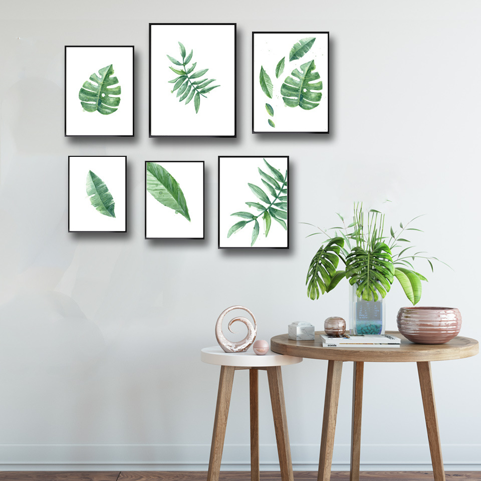 wohnzimmer wand poster : Nordic Simple Frische Aquarell Bl Tter Gr Npflanzen Wandmalerei