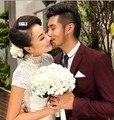 2016 Nueva llegada baratos ramos de novia blanco clour ramos de novia de flores artificiales para la boda romántica