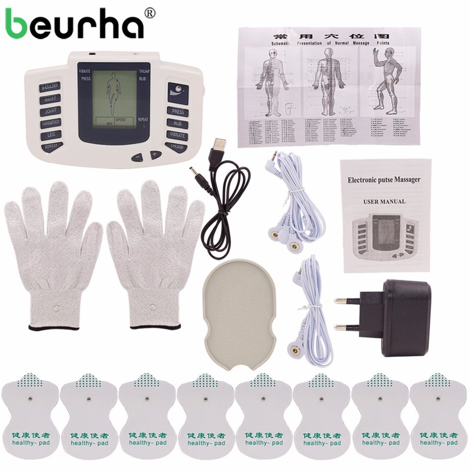 Russian/English Button Electrical Stimulator Full Body Relax Muscle Therapy Massager Pulse Tens Acupuncture + Gloves & 16 Pads 1 set stimulator full body relax muscle massager pulse tens acupuncture therapy slippers gloves with 16pcs electrode pads