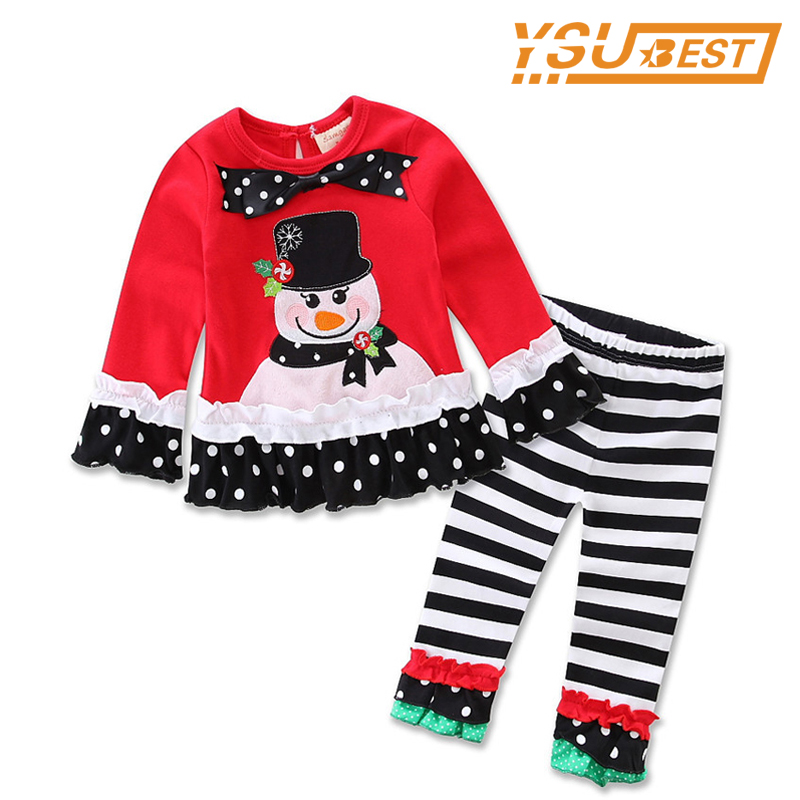 2017 Christmas Children Clothing Set 2-6Yrs Baby Girls Christmas Suit Bowknot Girls T shirts + Striped Pants 2pcs Girl Clothes new baby girls clothes fashion style dress for girl polka dot dresses white bowknot shirts children clothing set girls costume