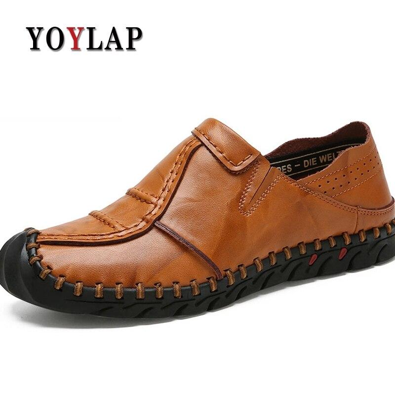 Handmade New Genuíno Do De Homens Yoylap Plana Dos marrom vermelho Conforto Projeto Couro Masculinos Preto Sapatos Superstar Em Sapatas Deslizamento Mocassins q6qwIv
