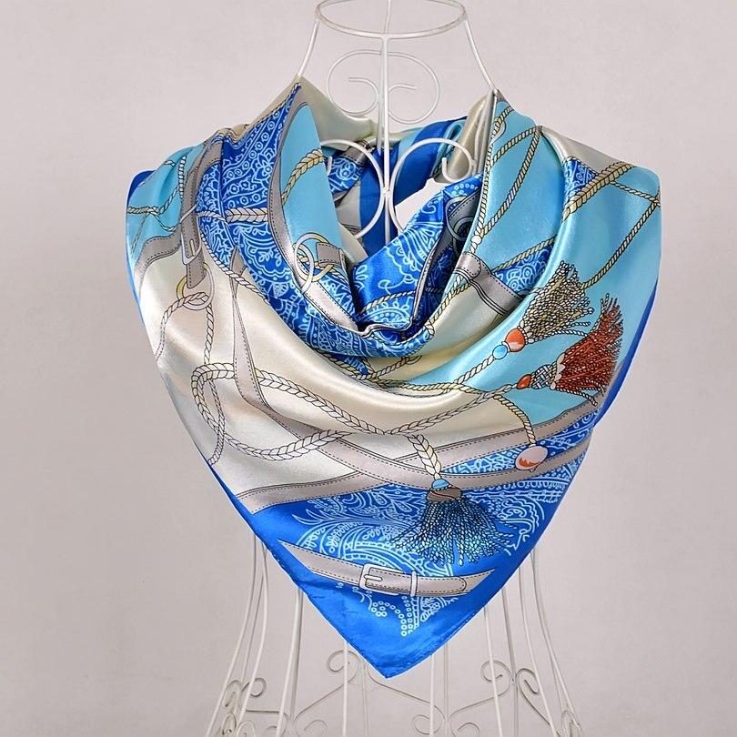 Дизайн женский Шелковый большой квадратный шелковый шарф из полиэстера, 90*90 см горячая Распродажа атласный шарф с принтом для весны, лета, осени, зимы - Цвет: sky blue 563