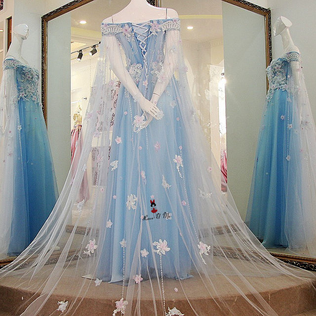 Online Shop Baby Blue Wedding Dress Vintage Bohemian Wedding Gowns ...