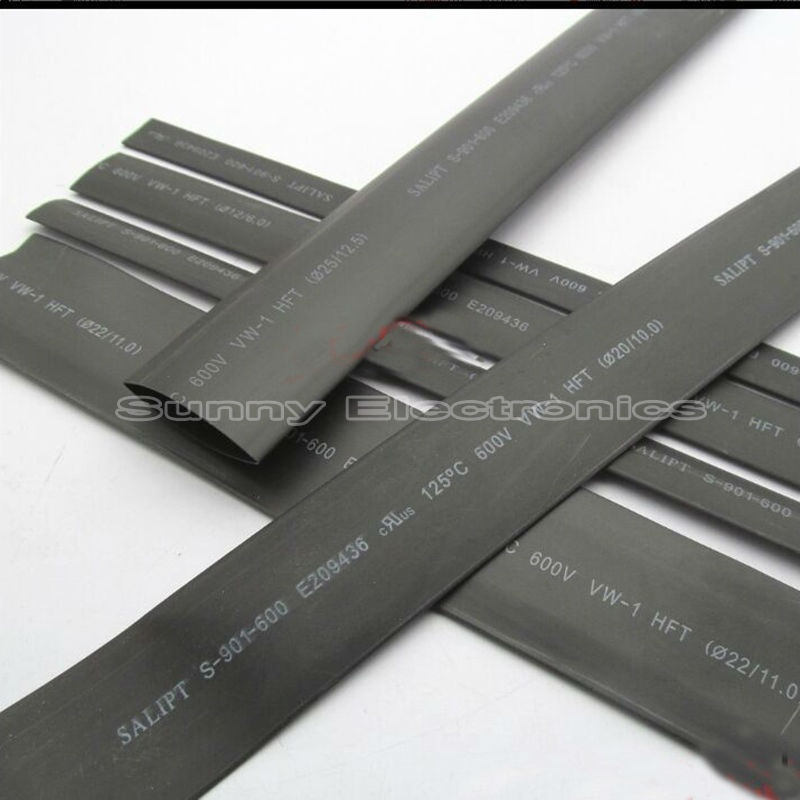 1 METER/LOT 2:1 Black Color 45mm 50mm Heat Shrink Tubing Tube