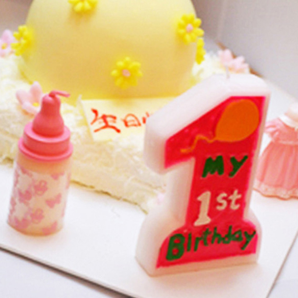 Baby Girl Boy 1st Happy Birthday Cake Candle Number 1 Weddings Anniverysary Party Supplies Decoration Cake/Cupcake Toppers pink