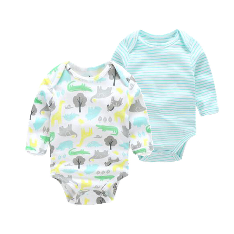 2017 brand baby bodysuit  2 pcs/lot  baby clothes . surper quality infant clothing for newborn - 24M bebes Bodysuits Long Sleeve