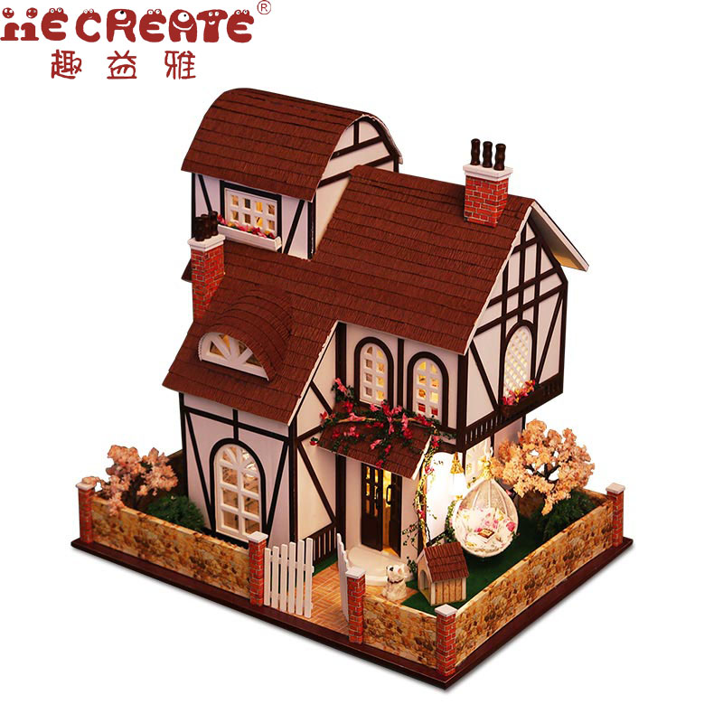 2017 New LED 3D Wooden Model Miniatures Three Layers Flower Town Large Doll House Furniture DIY Toys For Children Christmas Gift d030 diy mini villa model large wooden doll house miniature furniture 3d wooden puzzle building model