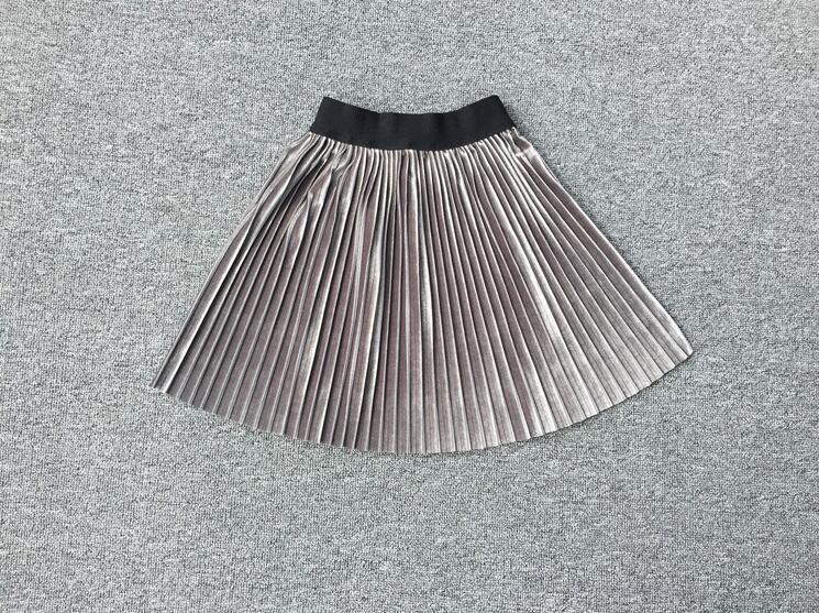 New velvet pleated skirt knee long girls skirt summer winter casual smooth skirt girl tutu high waist elastic pleated skirt 4