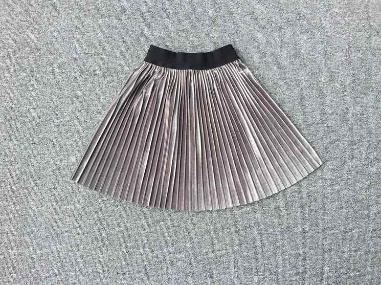94e050b47 Nueva Falda plisada de terciopelo hasta la rodilla Falda larga de las  muchachas de verano de invierno casual falda suave chica tutú de cintura  alta ...