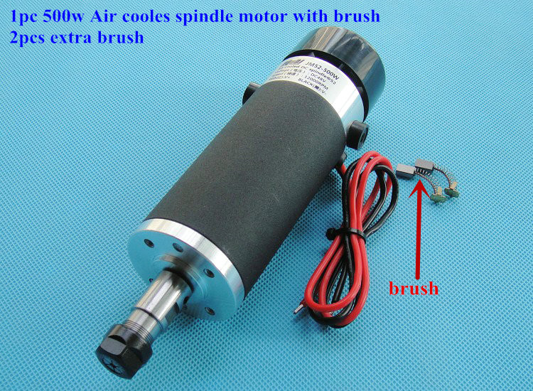 Free Shipping ER11 CNC Spindle 500W Air Cooled 0.5KW Milling Motor +2Pcs Carbon Brush 3000-12000rpm DC24-110V new 1 5kw air cooled spindle motor kit cnc spindle motor 220v 1 5kw inverter square milling machine spindle free 13pcs er11