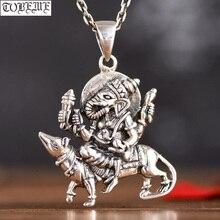 Ручная работа 925 серебряный таиланд Ганеш кулон Винтажный серебряный слоновий хобот богатство Будда Кулон удача кулон