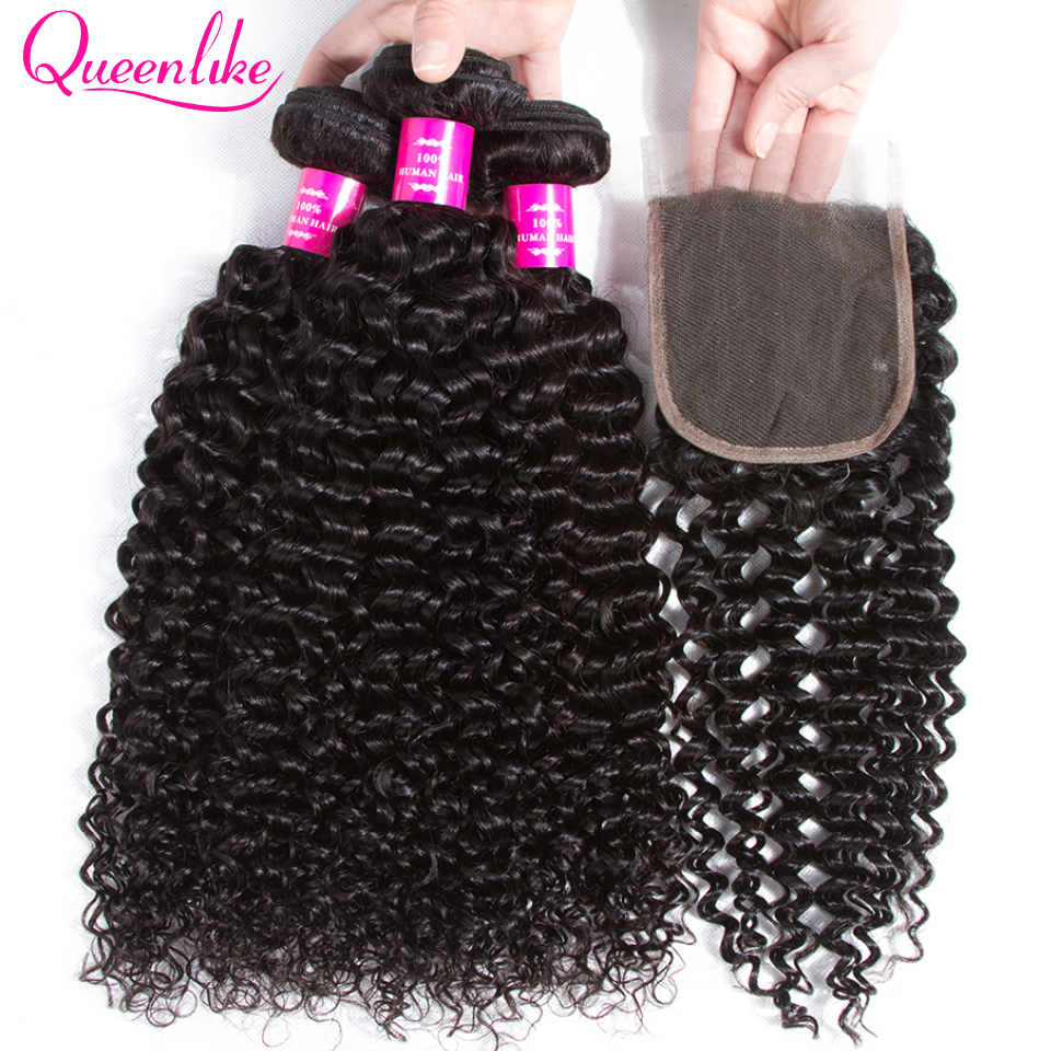 Queenlike Hair Products 3 4 Bundles Human Hair Bundles With Closure Non Remy Weave Brazilian Kinky