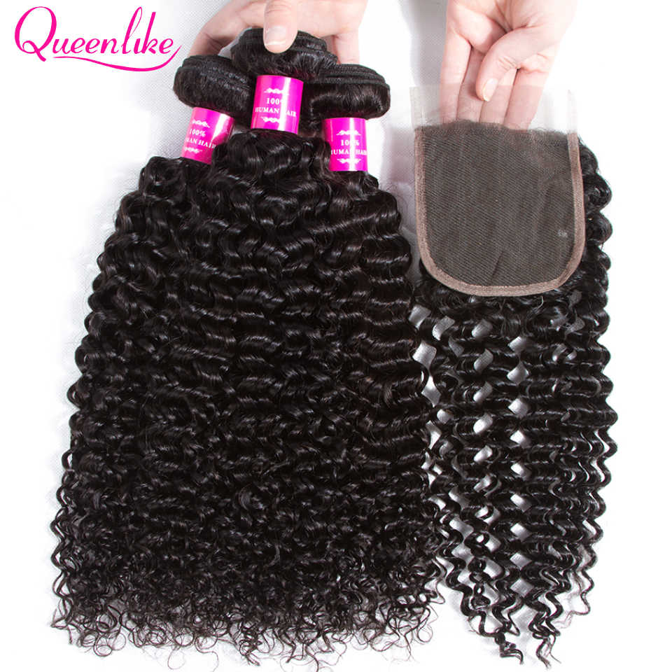 Queenlike Hair Products 3 4 Bundles Human Hair Bundles With Closure Non Remy Weave Brazilian Kinky Curly Bundles With Closure
