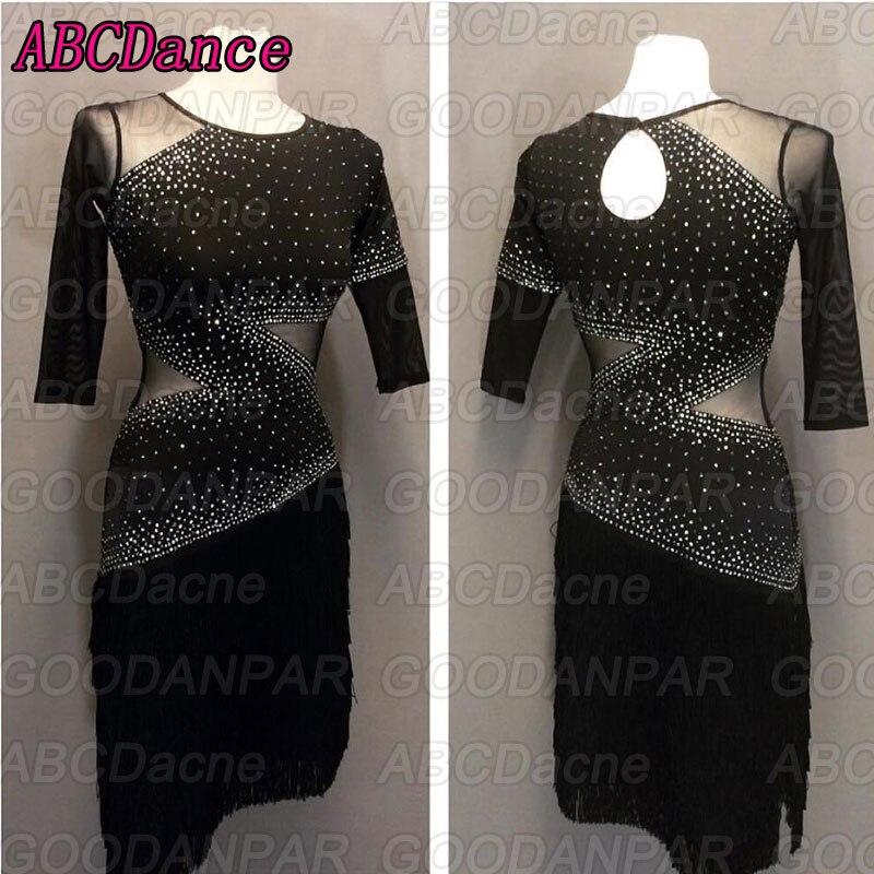 Latin Dance Dress  Black Half Sleeve Latin Dancing Dress Tango Dress Chacha Dancewear Fringe Skirt