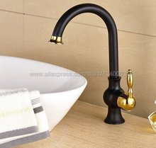 Black Oil Rubbed Bronze & Gold Brass Basin Faucets Deck Mount Single Handle Bathroom Basin Mixer Tap kitchen sink faucet Knf805 цены