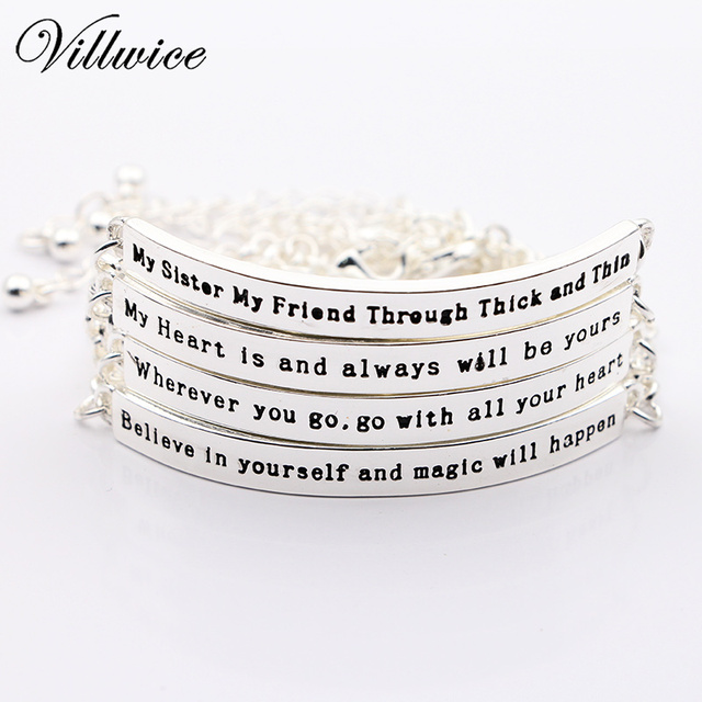 New 2018 Inspirational Bracelets Bangles For Women Gift Silver Plated Bar Armband Engraved Name Bracelet Letters