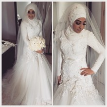Traditional Dubai Arabian Muslim Wedding Dresses 2016 Dropped Waist Lace Appliques Bodice Long Sleeves Bridal Gowns with Hijab