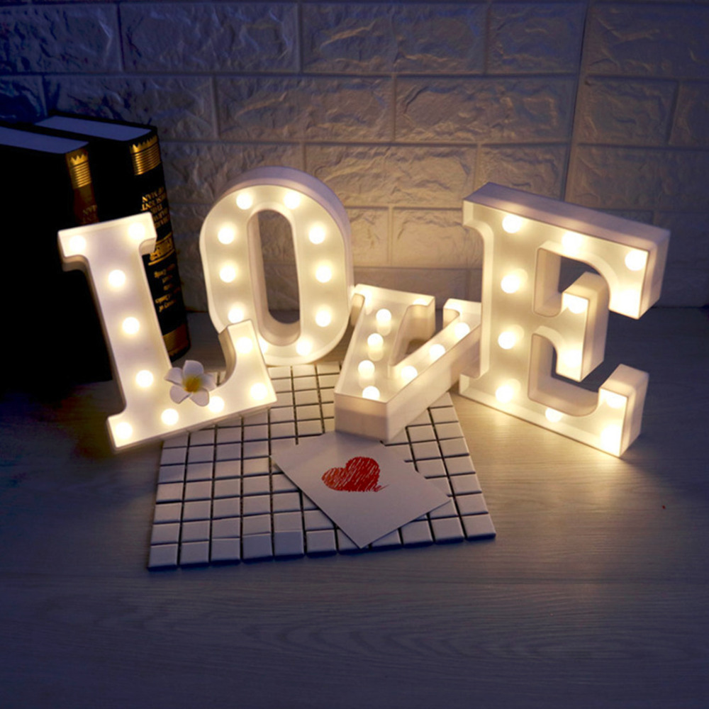White Plastic Letter LED Night Light Marquee Sign Alphabet Lights Lamp Home Club Outdoor Indoor Wall Decor Valentine's Day Gift best price led night light lamp kids marquee letter light vintage alphabet circus style light up christmas lamp white 12inch