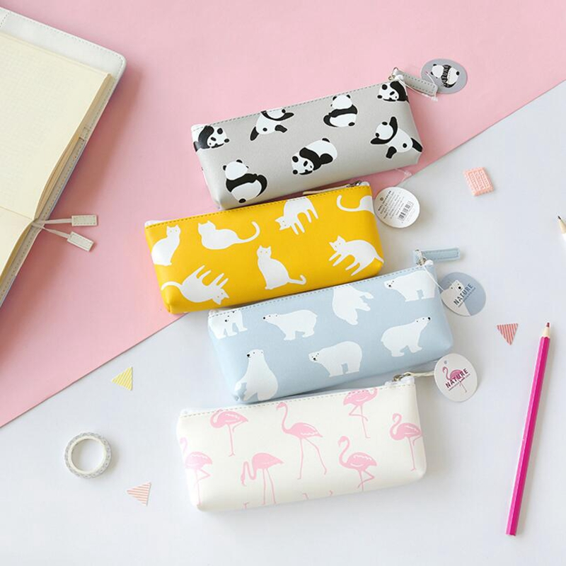 Animal Pencil Case for Boys Girls PU Leather Flamingo Pencil Bag Big Panda pencil Box Bts Stationery Storage School Supplies new leather pencil case bag for school boys girls vintage pencil case box stationery products supplies as gift for student