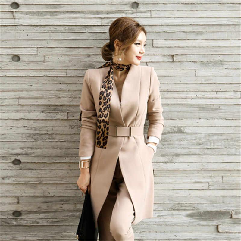 のためのブレザーセット秋の女性ビジネス事務韓国スタイル制服 V ネックロングジャケットエレガントなパンツスーツ