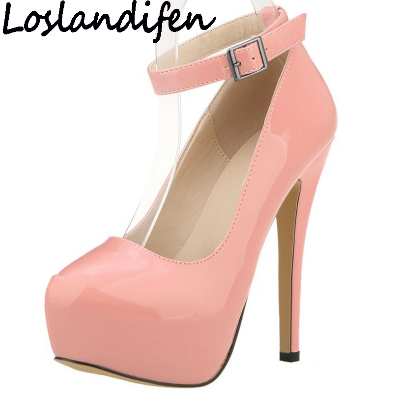 LOSLANDIFEN Plus Size Wedding Bridal Shoes Ankle Strap Women Pumps Platform Ultra Very High Heels Stilettos Pink Green Gray women luxury shoes platform pumps bridal wedding lolita shoes black red beige bottom peep toe high heels fetish shoes size 4 16