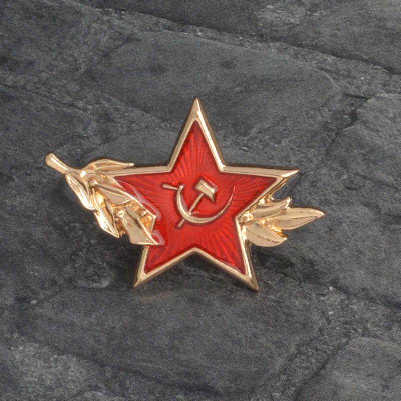 Brass /& Enamel Russian RED STAR hat Insignia RKKA Badge