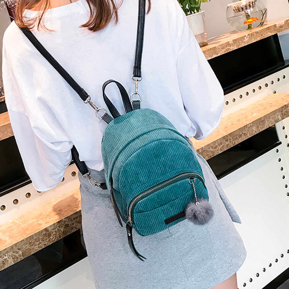 c65dd850a037 ... Women Backpack Vintage Stylish School Bag Mochila Feminina Ladies Nylon  Fabric Backpack Hairball Corduroy Bookbag Drop