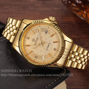 Image 5 - 럭셔리 골드 패션 남성 시계 캐주얼 크리스탈 다이얼 날짜 자동 기계 스테인레스 스틸 스포츠 손목 시계 남성 선물 용품