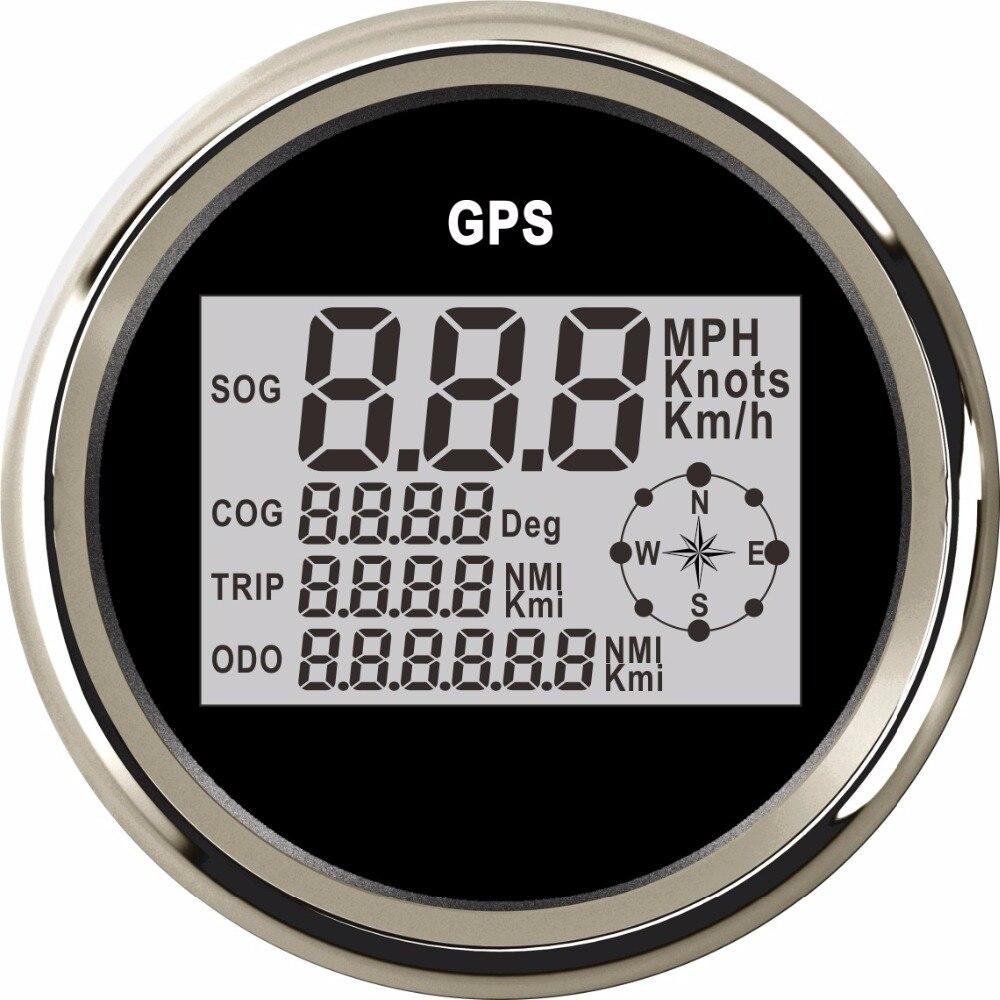 85mm Digital Boat Motorcycle Car Speedometer Gauge 0 999 Knots MPH Km h Adjustable GPS Speed