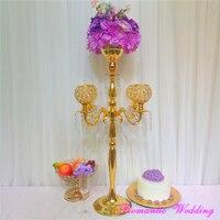 2 шт./лот Бесплатная отправка канделябры 5 дужки с большой цветок чаша золото великолепный подсвечник для Свадебная вечеринка украшения дом