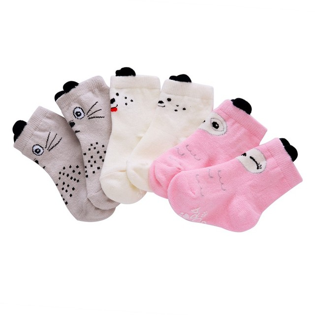 Newborn Baby Girl Boy Socks Pink Owl White Dog Gray Kitty Cute Soft