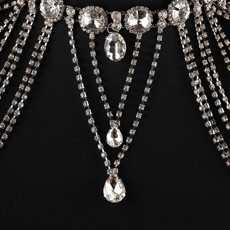 JaneVini 2018 luxueux cristal mariée épaule chaîne Bling strass collier de mariage femmes épaule gland chaînes bijoux - 4